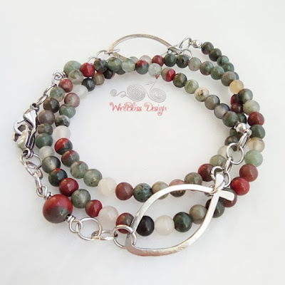 Face mask chain with Bloodstone and Wire Fish / Ichthus on mask