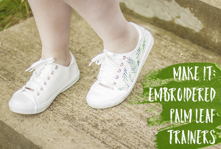 Make it: Embroidered Palm Leaf Trainers