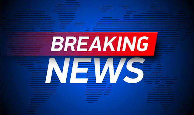 Breaking news text in white colour and blue background with the world map behind