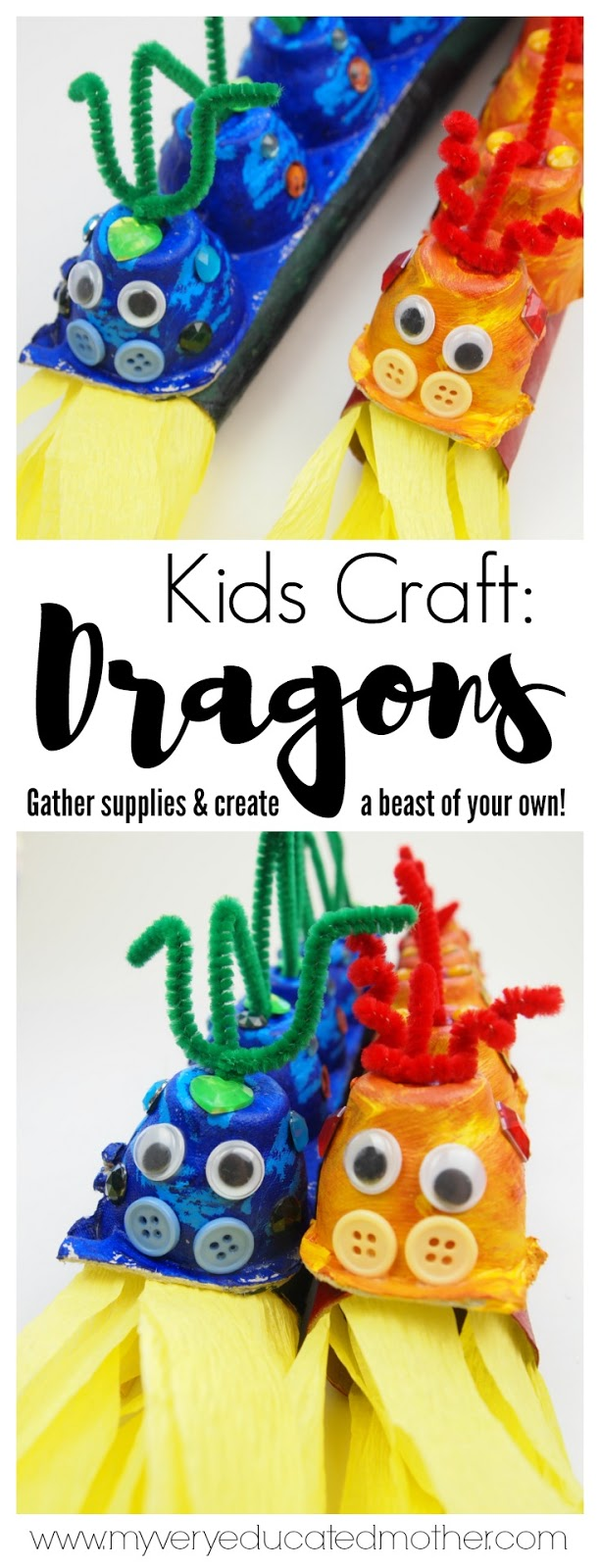 Recycled Kids Craft create egg carton dragons