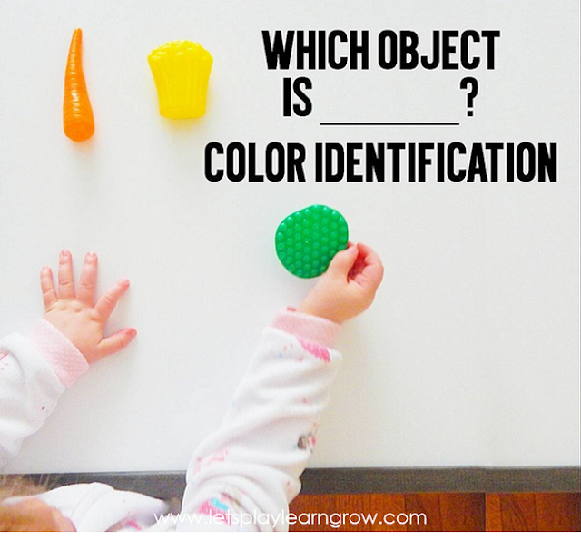Having children identify colors of objects by listening to you say a color is another great way to explore and learn about colors. This object color identification activity using items around the house is fun for toddlers and preschoolers.