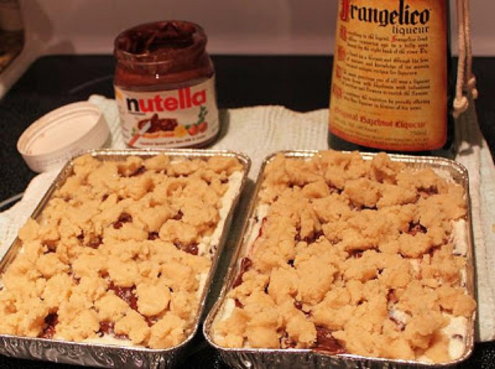 a rich cookie cake made with ricotta cheese, nutella, frangelico