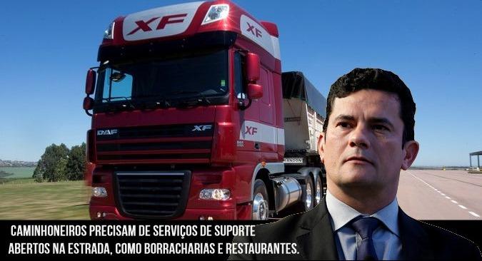 Sérgio Moro pede que serviços para atender caminhoneiros sejam reabertos