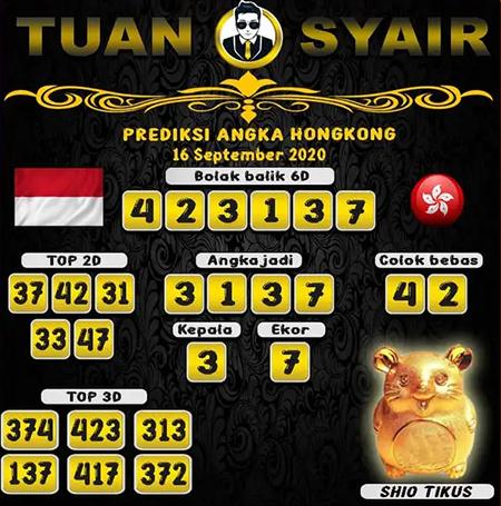 Prediksi Tuan Syair HK Rabu 16 September 2020