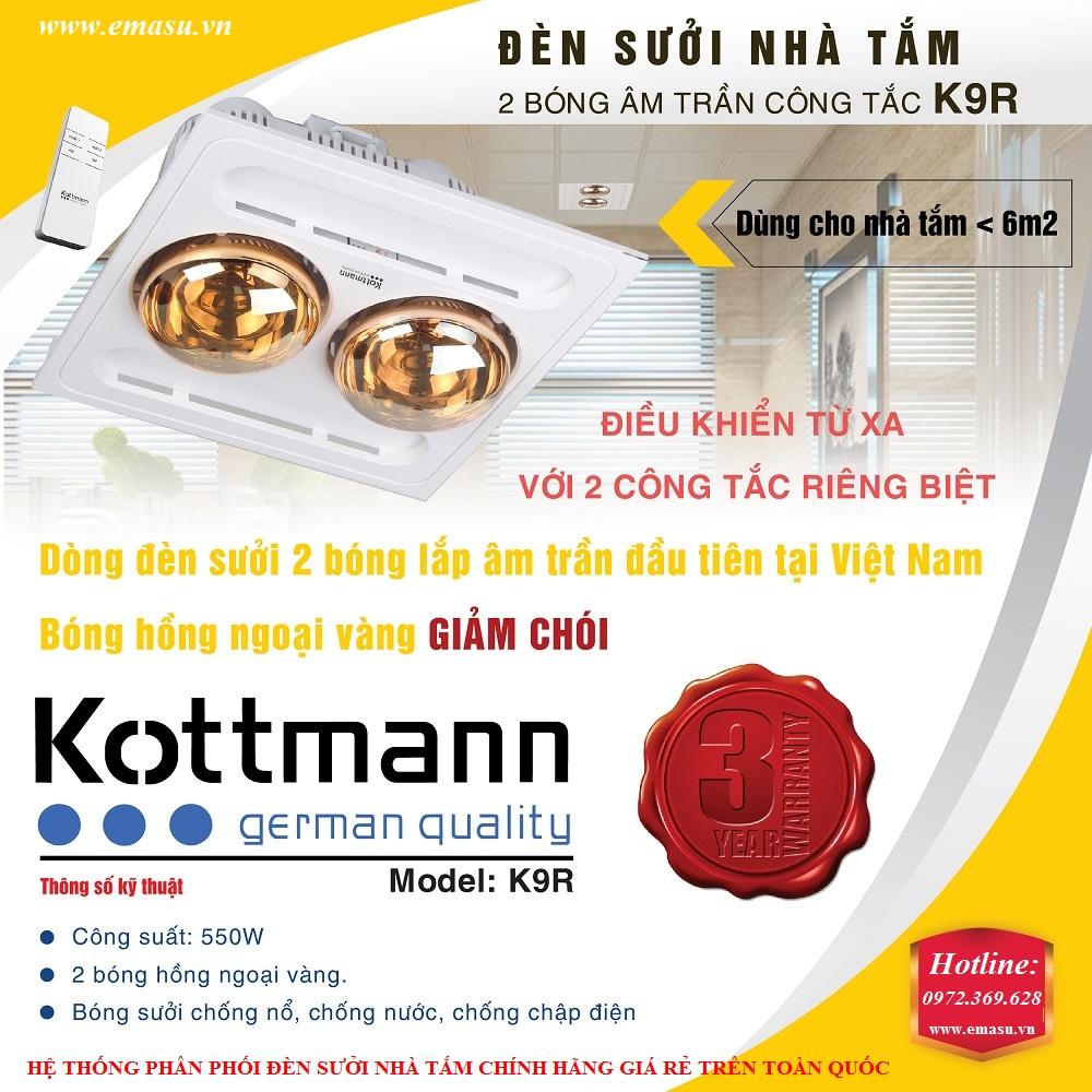 Đèn sưởi nhà tắm Kottmann 2 bóng âm trần K9-R (K9R)