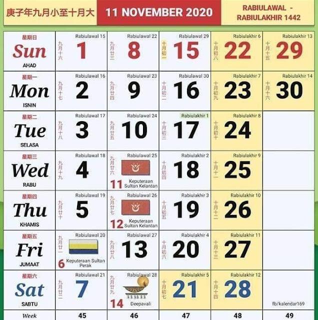 Kalender Tahun 2020 Termasuk Cuti Umum dan Cuti Sekolah