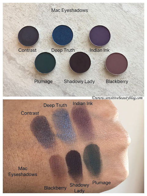 MAC Eyeshadow Swatches (Contrast, Deep Truth, Indian Ink, Blackberry, Shadowy Lady, Plumage)