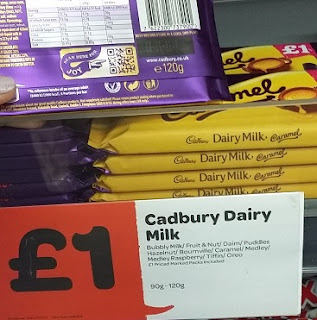 Photo of Cadbury's Dairy Milk Caramel bars with a price ticket of £1 for 120g