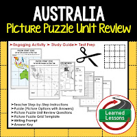 Australia, World Geography Picture Puzzle BUNDLE, Test Prep, Unit Review, Study Guide