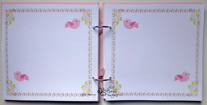 livro de mensagens passarinho rosa jardim floral bebê menina