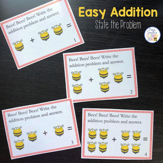 You will love how easy it is to prepare these task cards for your centers, small group work, scoot, read the room, homework, seat work, the possibilities are endless. Your students will enjoy the freedom of task cards while learning and reviewing important skills at the same time! Perfect for review. Students can answer in your classroom journals or the recording sheet. Perfect for an assessment grade for the week. Twenty-Four Addition Basic Facts Task Cards for the Zero to Four Fact Families Only. Kindergarten and First Grade #FernSmithsClassroomIdeas