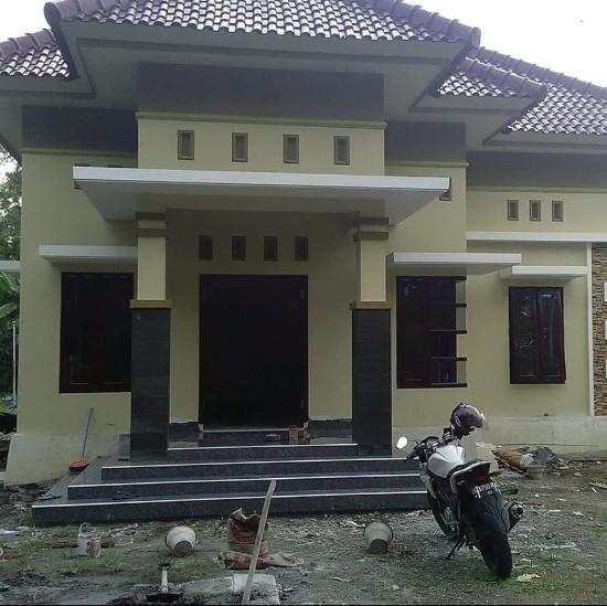 rumah minimalis krem hijau