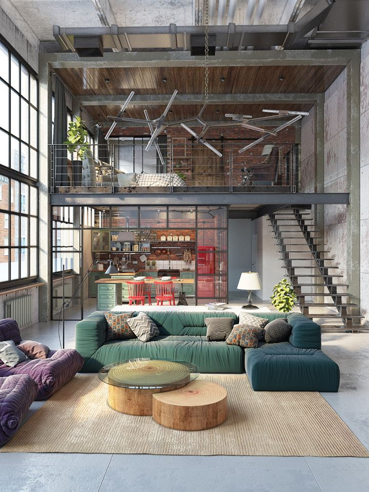 A former industrial space built in 1928 in Budapest, Hungary, was  transformed into an industrial style loft thanks to the work of Tatiana  Golovach and ...
