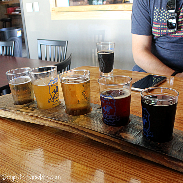 Flight of beer at Blue Stallion Brewing Company in Lexington!