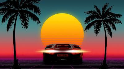 Paisagem Retrowave Pôr do Sol, Lamborghini e Palmeiras