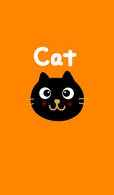 Black cat and orange.