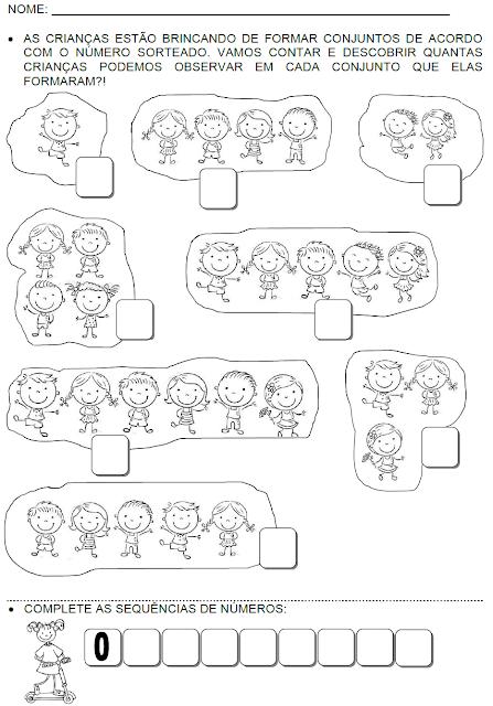 Atividades com conceitos e números até 9