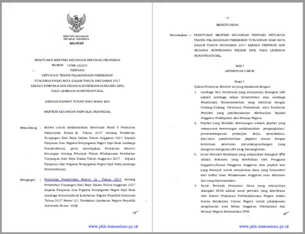 PMK Nomor 77/PMK.05/2017 Tentang Juknis Pemberian THR Tahun 2017