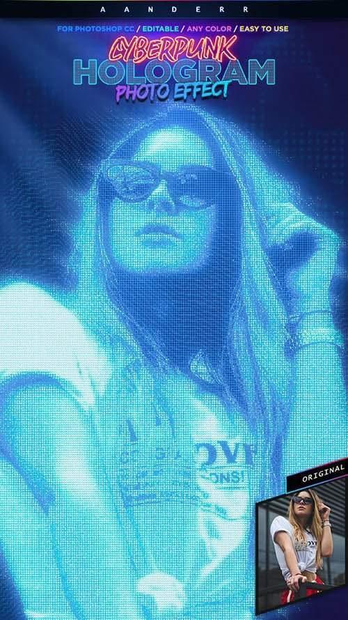 Cyberpunk Hologram Photo Effect[Photoshop][28403433]