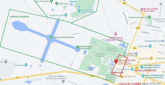 mapa con las zonas que ver en Versalles