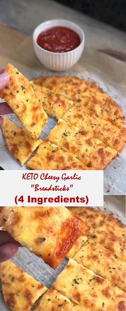 "KETO Cheesy Garlic ""Breadsticks"" (4 Ingredients)"