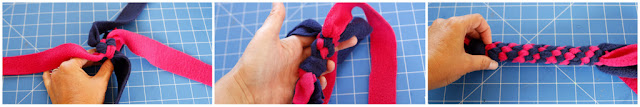 Making DIY fleece dog tug toys - creating a spiral by rotating strands (twisted box knot)
