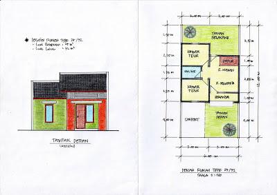 Desain Denah Rumah Kecil Type 27/72