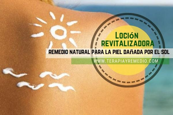 Loción revitalizadora para la piel dañada por el sol con romero, tomillo, lavanda, arnica