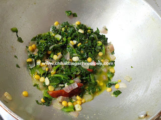 Poi Saag Recipe with Chana dal ,most nutritious leaves