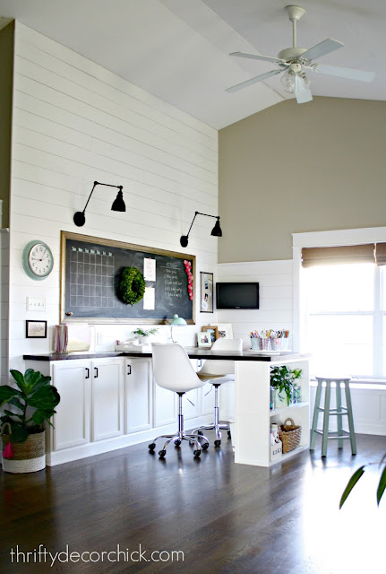shiplap office with big desk