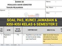 Soal dan Kunci Jawaban UAS/PAS Kelas 6 Tema 6, Tema 7, Tema 8, Tema 9 Semester 2 dan Kisi-Kisi Terbaru