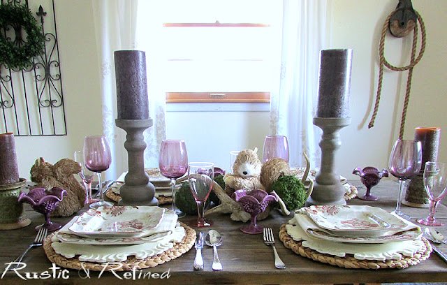 Texture and color for a pretty Spring Tablecape