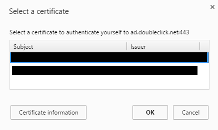 Why did ad network Doubleclick ask for digital client authentication certificates?