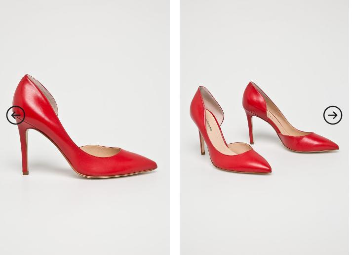 Solo Femme - Pantofi cu toc decupati din piele naturala rosii eleganti