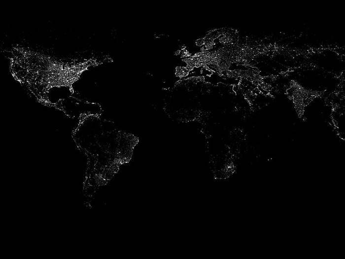Space view of world, City night lights