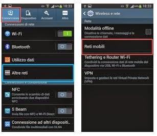 impostazioni di rete mobili android