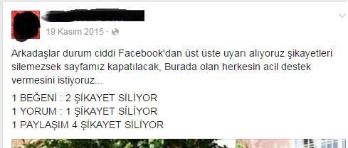 facebook sayfası kapatılacak