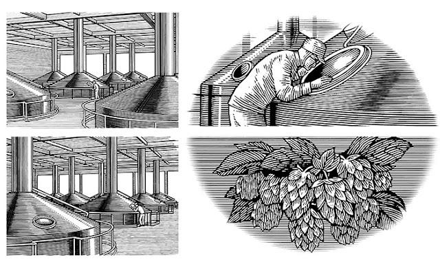 細密線画、緻密な線画、スクラッチイラスト、木版、ロットリング、モノクロ、醸造所、ビール、