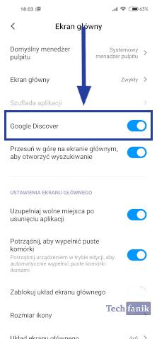 Panel Google Discover w ustawieniach