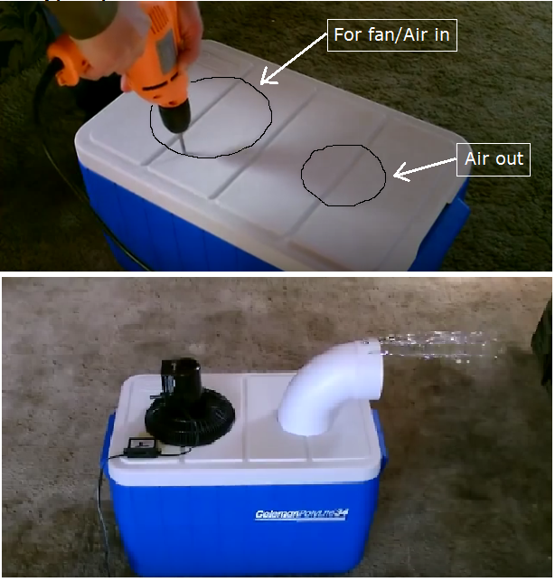 homemade air conditioner with ice and fan
