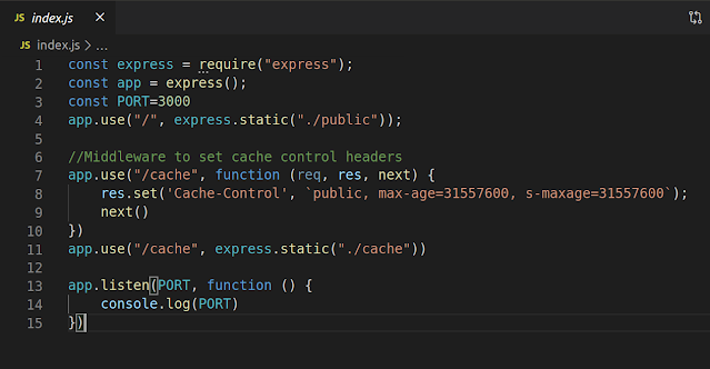 Index.js Page in Implementing Caching Project