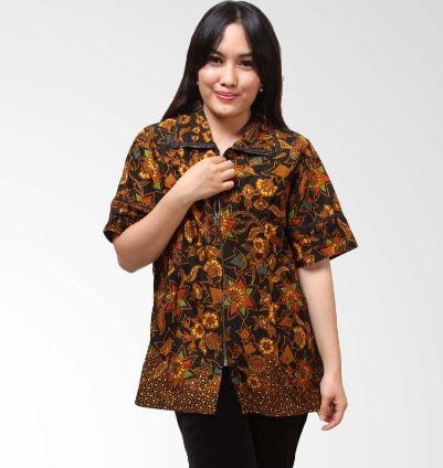 20 Contoh Model Kemeja Batik Wanita Kombinasi Modern 2020