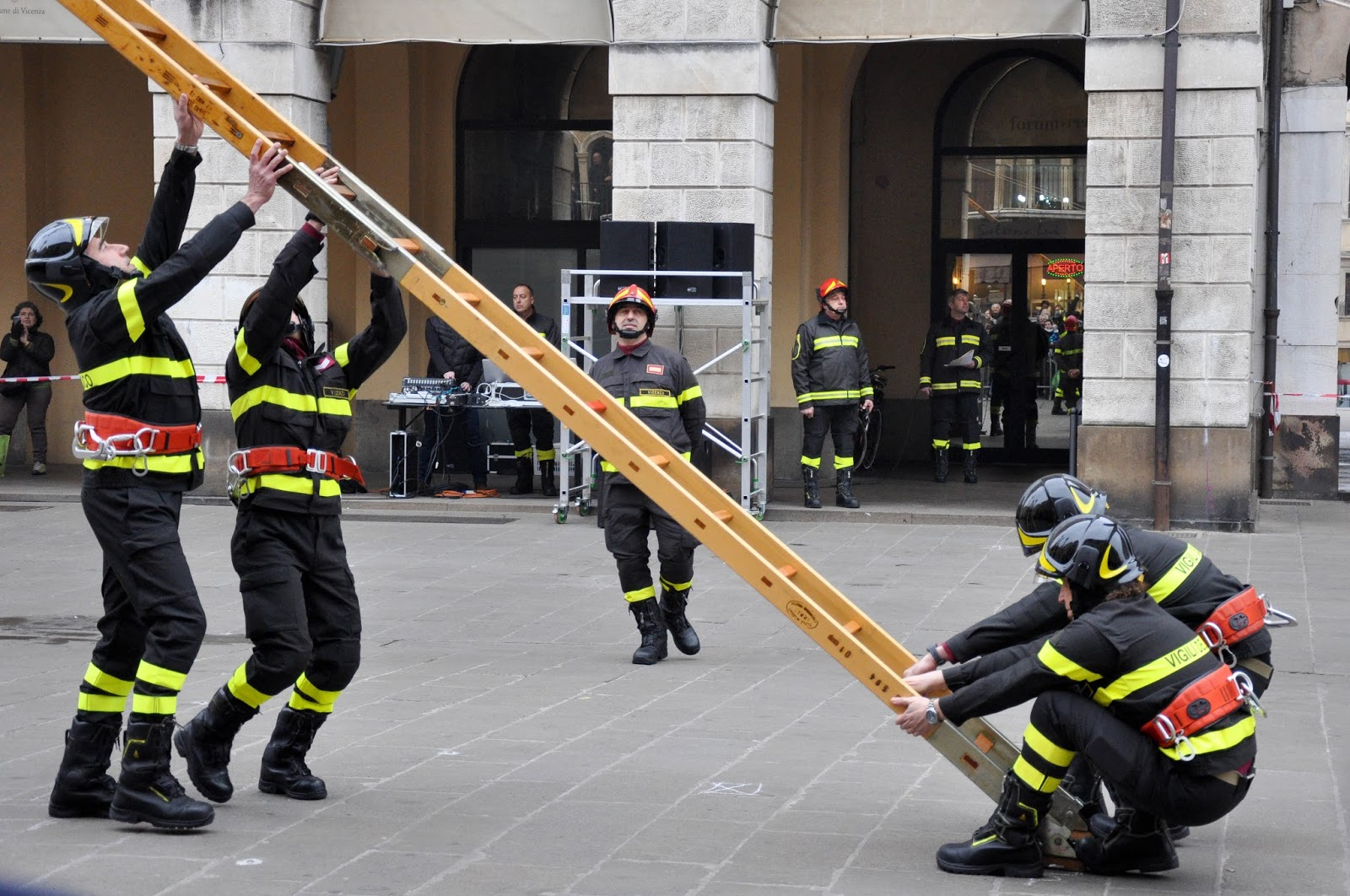 Firefighting demonstration, Piazza dei Signori, Saint Barbara celebration, Vicenza, Veneto, Italy