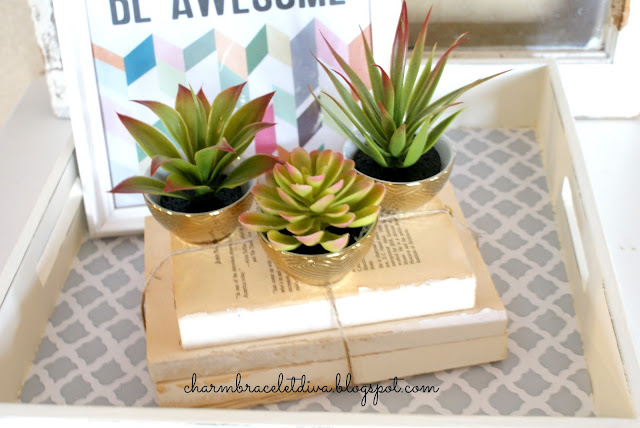 Dollar Store cacti in Target golden bowls atop book bundles