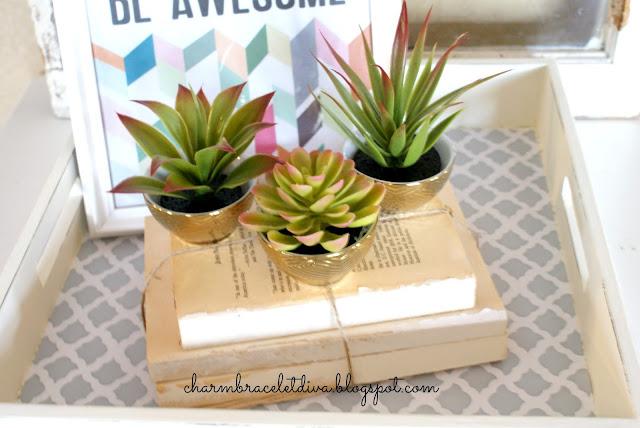 Dollar Store cacti in Target golden bowls atop book bundles