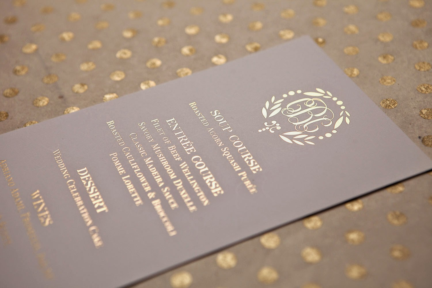 Gold Foil Wedding Reception Menu