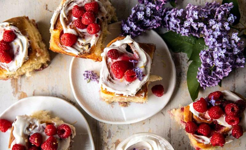 Raspberry Lemon Brioche Rolls with Whipped Ricotta Cream