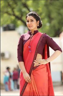 Rashi Khanna looks supre cute in a Full Sleeves Blouse Choli and Orange Saree