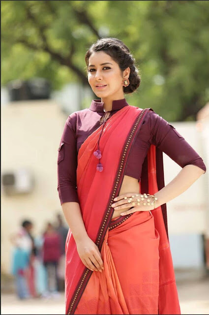 Rashi Khanna looks supre cute in a Full Sleeves Blouse Choli and Orange Saree