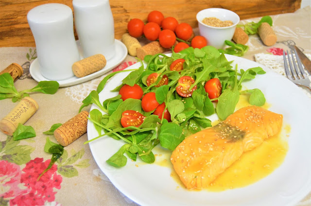 Las delicias de Mayte, salmón al microondas, salmón recetas, salmón con miel y mostaza, salmón con miel y mostaza al microondas, salmón marinado, salmón, recetas de salmón,